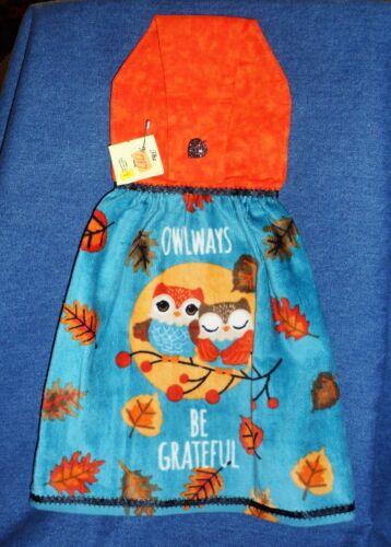 **NEW** Handmade Autumn Owlways Be Grateful Hanging Kitchen Hand Towel #1787