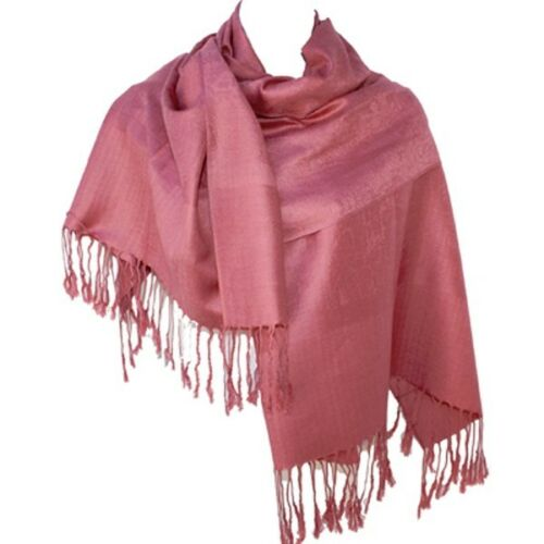 Jacquard Paisley Pashmina Shawl Scarf Stole Wrap Soft Warm Mauve Pink