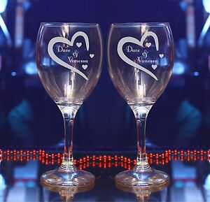 4559387f941 Details about Personalised Valentines Day/Wedding Wine/Champagne flute  glass gift SET of 2 #16