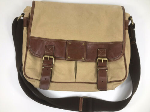 Fossil Canvas Tan Leather Crossbody Messenger Lap… - image 1