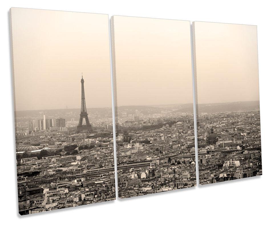 Paris Skyline City Eiffel Tower France TREBLE CANVAS WALL ART Box Framed Print