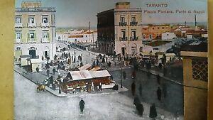 TARANTO-PIAZZA-FONTANA-PONTE-DI-NAPOLI-NON-VIAGGIATA-ANIMATA-1911