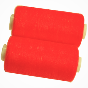 2 Bobines 500 mètres Polyester Coloris Fluo Orange Fil à Coudre REF bob75-993