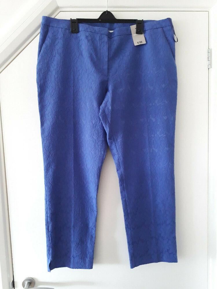 Charmant Tu Fleuri Bleu Pantalon Taille Uk18 Eu46 Bnwt Art De La Broderie Traditionnelle Exquise