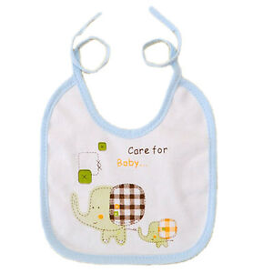 Kids-Cotton-Bibs-Elephant-Waterproof-Baby-Boys-Girls-Saliva-Bibs-3-Colors-JF