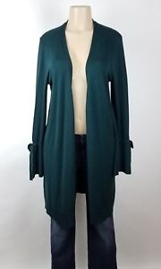 Halogen-Womens-Cardigan-Sweater-Size-Medium-Dark-Green-Long-Open-Front