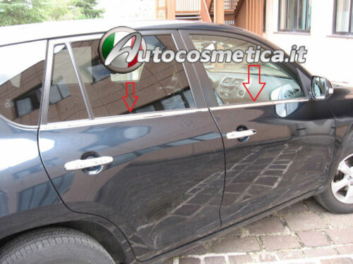 4 strisce Cromate sotto Finestrini Toyota Rav 4 2006-12 Profili Cromati acciaio