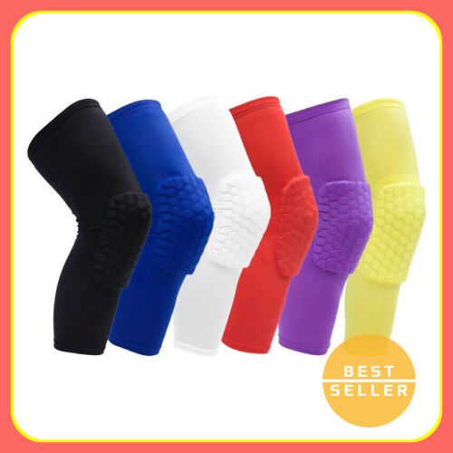 Basketball Knee Pad Compression Extended Support Leg Sleeve Hexpad Protective