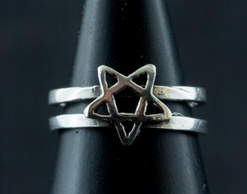 K53 6654 Bague de pied orteil ajustable Pentagramme-Bijou Argent massif 925