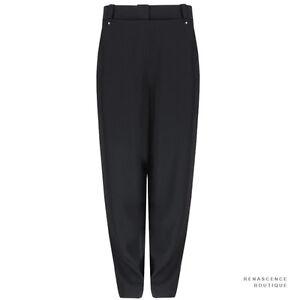 Alexander-Wang-Black-Stud-Closure-Bib-Front-High-Waisted-Pants-Trousers-US8-UK12