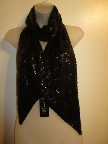 INC NWT Allover Sequin Scarf Collar Wrap Sparkling Black Shiny Mesh Lined Party