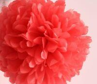 "10pcs 8"" coral tissue paper pom poms baby shower wedding party decoration"