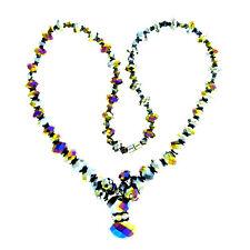 Black Crystal Aurora Borealis Bead Necklace Strand