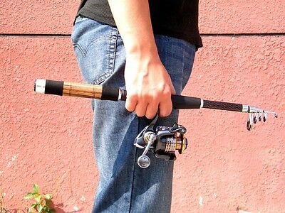 1.8m 5.9ft 6 Sections Telescopic Carbon Spinning Fishing Rod