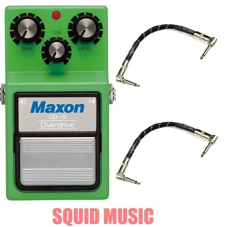 Maxon OD-9 Overdrive Vintage Reissue ( 2 FENDER PATCH CABLES ) Tubescreamer TS9