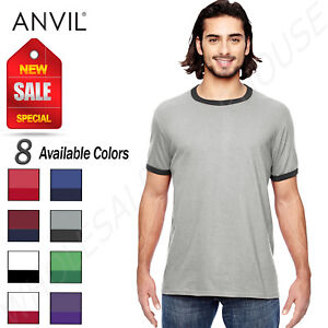 f8a16b93d Details about NEW Anvil Men's Light weight 100% Cotton Ringer T-Shirt  M-988AN