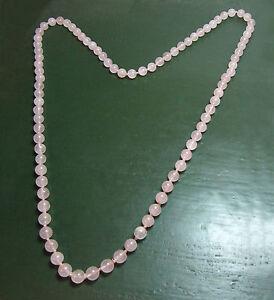Bellissima-lunga-rose-quarzo-catena-a-sfera-colore-sottili-83-cm