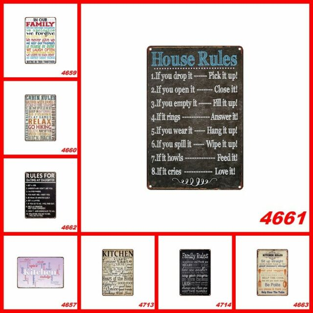 Family Kitchen Rules Tin Sign Retro Cafe Hanging signs Positive Wall Home Decor