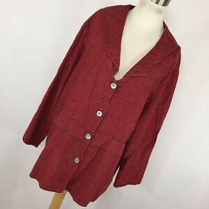 Liz-amp-Jane-M-Medium-Shirt-Top-Red-Black-Stripe-Button-Down-Linen-Lagenlook-W1