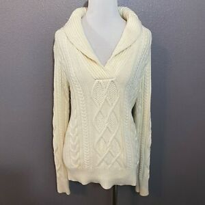 Eddie-Bauer-Women-039-s-Size-S-White-Cable-Knit-V-Neck-Sweater-Cotton-Wool-Blend