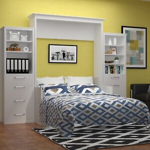 Details About Urban Loft Alegra Full Wall Bed Murphy White W Desk And Side Units