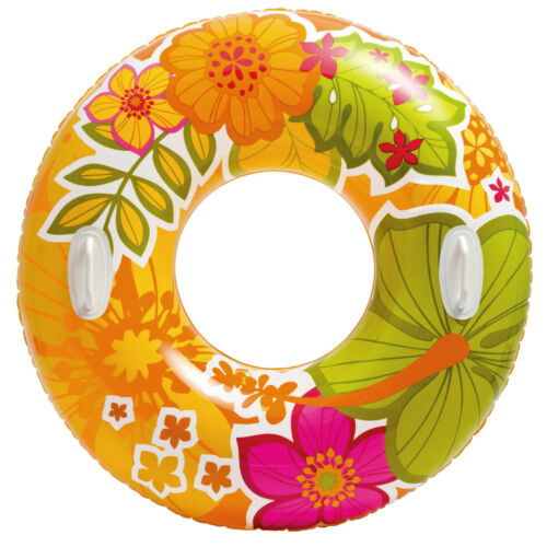 Großer XXL Schwimmring zwei Griffe Schwimmreifen Wasserreifen Wasserring Blumen