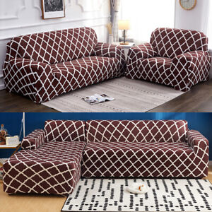 Details about New 1/2/3/4 Seaters Sectional Sofa Cover Slipcover Stretch  Chair Couch Protector