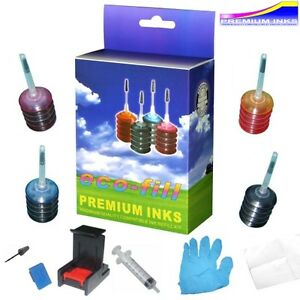 ecofill hp envy 5640 cartouche d 39 encre kit de rechargement tools hp 62 ebay. Black Bedroom Furniture Sets. Home Design Ideas