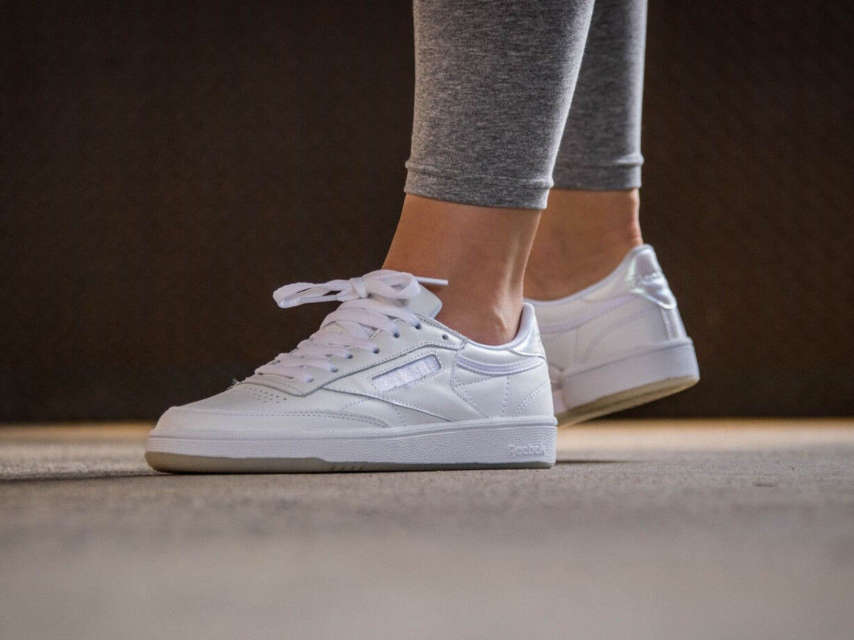 Womens Reebok Club C 85 Lace White Leather Reebok Classics New Authentic