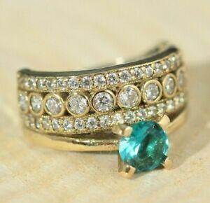 925 Sterling Silver 925 Aquamarine Vintage Turkish Handmade Ring 6-12