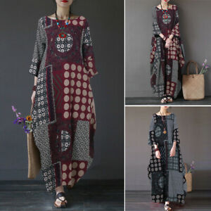 ZANZEA-Bohemia-Women-Long-Sleeve-Batwing-Long-Maxi-Dress-Polka-Dot-Shirt-Dress