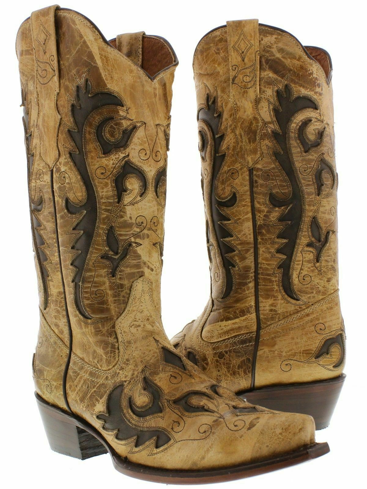 Femme Sable Inlay Western Cowgirl Bottes effet vieilli cuir Snip Toe