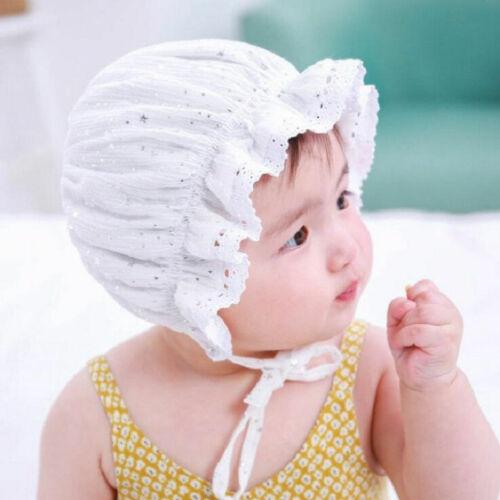 Newborn Infant Christening Bonnet Beach Bucket Hat Baby Girl Sun Summer Cap Lace