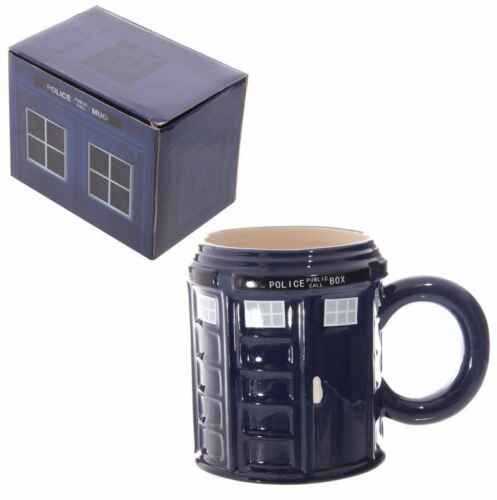 ROUND THE DOCTOR POLICE BOX TARDIS SHAPED LARGE 3D CERAMIC MUG NEW AND BOXED