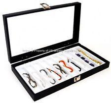 1 Glass Top Lid White 10 Slot Jewelry Organizer Display Case