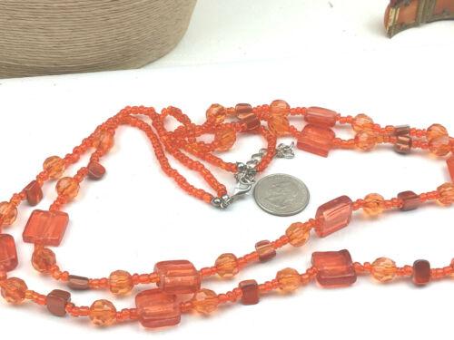 Fashion Necklace Foil Glass & Plastic Orange Tile