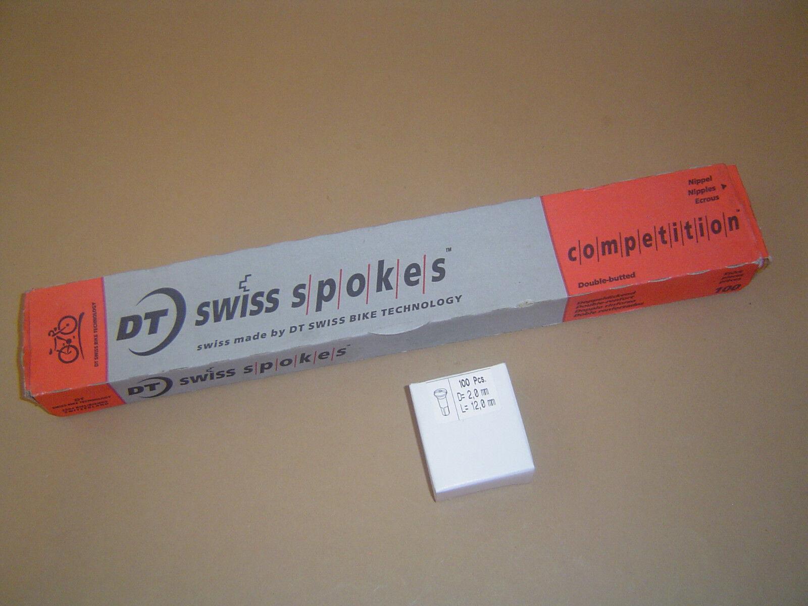 100 St DT Swiss Competition 2.0   1.8mm Speichen mit Messing-Nippeln silver Neu