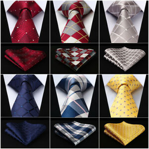 HISDERN-Woven-Men-Tie-Check-3-4-034-Silk-Necktie-Wedding-Handkerchief-Set-RC1
