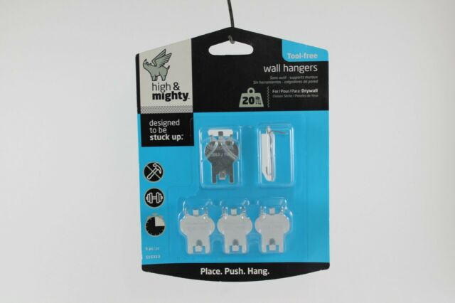 2 Pieces 60LB Limit Silver Hillman High /& Mighty 515316 Tool Free Picture Hanger