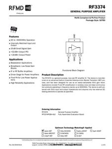 6GHz SSG 20dB NF 3.5dB P1dB 17.5dBm RF3374 RFMD QORVO  RF Amplifier DC