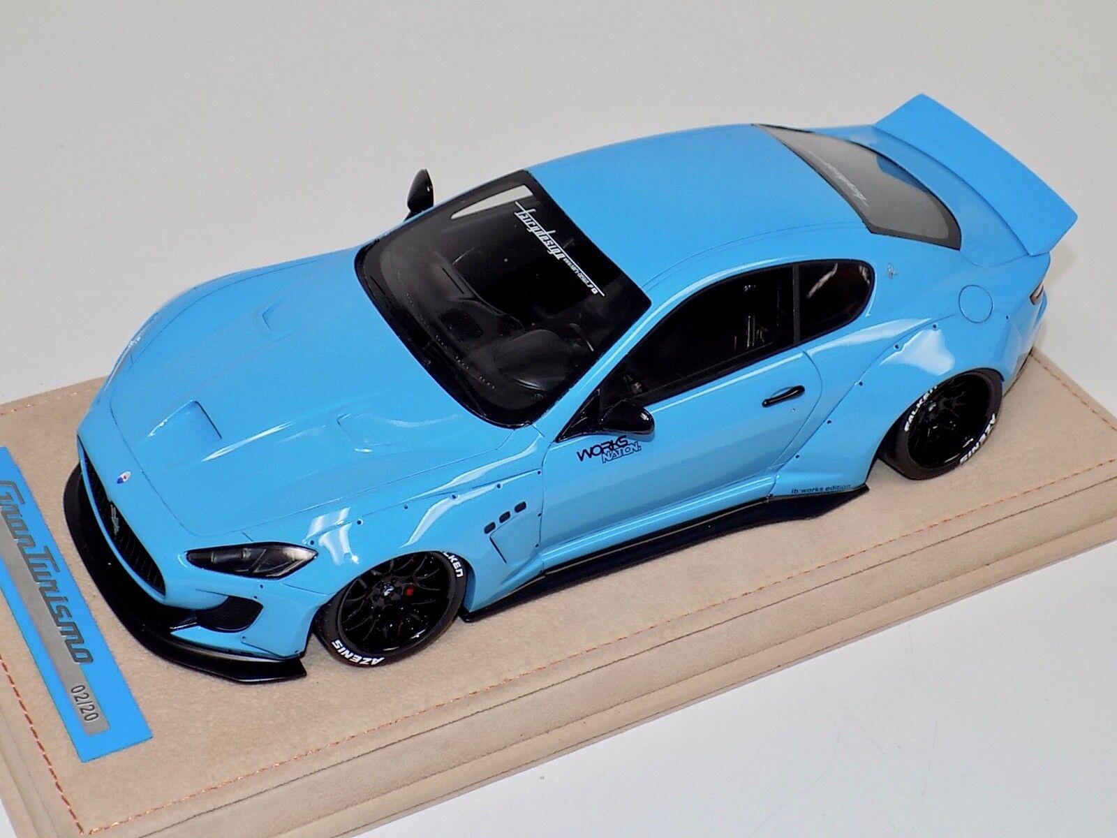 1/18 AB Models Maserati Granturismo Liberty walk Baby Blue No Decals Alcantara