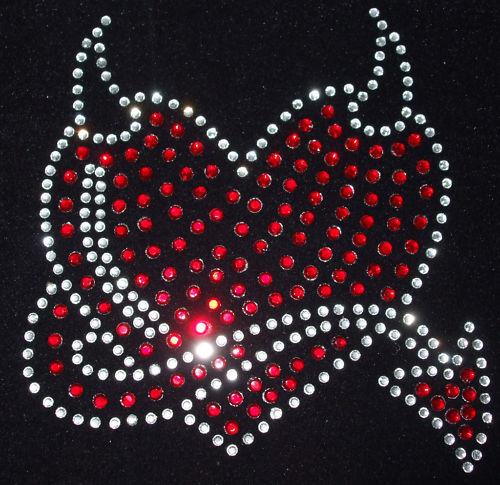 DEVIL HEART iron-on rhinestone diamante MOTIF CRYSTAL TRANSFER applique Gothic