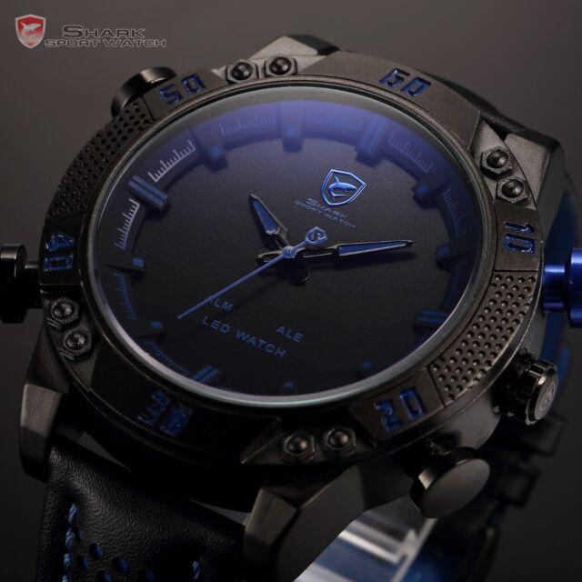 SHARK Date Day Analog Leather Mens Quartz Sport Wrist Blue LED Digital Watch