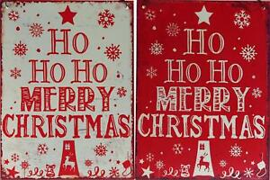 Set Of 2 Metal Red White Ho Ho Merry Christmas Signs Wall Plaques