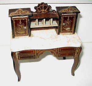 Image Is Loading Antique Miniature German Boule Biedermeier Furniture Gilt  Secretary