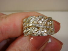 14K YELLOW GOLD BRAIDED DESIGN DIAMOND BAND RING BY AFFINITY  3/4 CTTW SIZE 5