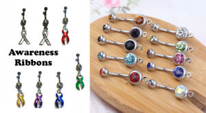 Details about Colored Cancer Awareness Ribbons Stainless Steel Belly Navel  Ring Jewelry USA