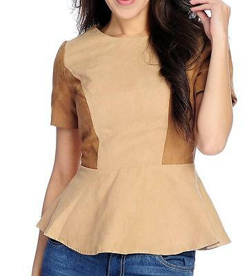 New Wd Ny Faux Suede Short Sleeved Color Block Peplum