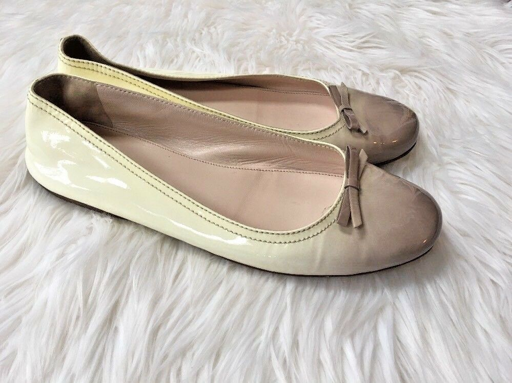 Authentic Prada Nude & Brown Flat shoes Bow Bow Bow Size 39 US 9 Beige Cream Women Style bdb54e