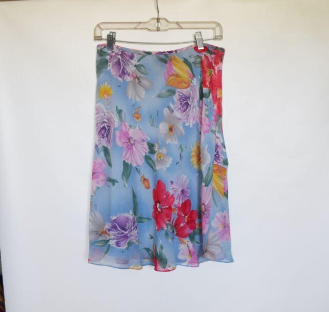 NWOT LAUREN Ralph Lauren Pure Silk  A-Line Womens Floral Blue Knee Skirt Size 10